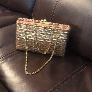 Gold wicker Lilly Pulitzer clutch purse